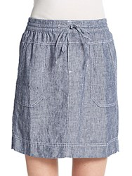 Saks Fifth Avenue Linen Chambray Skirt Blue