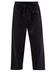 J.W.Anderson Jw Anderson Double Layer Cotton Twill Wide Leg Trousers Navy