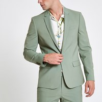 River Island Mint Green Stretch Skinny Fit Suit Jacket