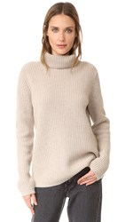 Jenni Kayne Rib Turtleneck Cashmere Sweater Oatmeal