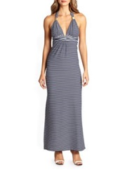 Heidi Klein Striped Maxi Dress Navy White
