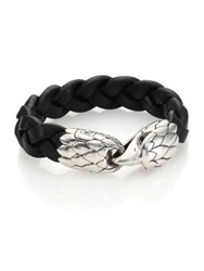 John Hardy Classic Chain Woven Leather Eagle Bracelet Black Silver