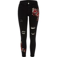 River Island Womens Black Ripped Floral Super Skinny Amelie Jeans
