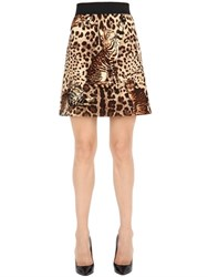 Dolce And Gabbana Leopard Printed Wool Cloth Mini Skirt