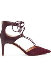 Sam Edelman Taylor Lace Up Leather And Suede Pumps Merlot
