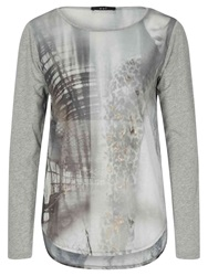 Oui Printed Jersey Top White Grey