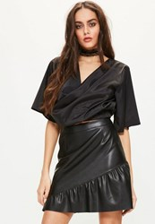 Missguided Black Flare Sleeve Wrap Front Crop Blouse