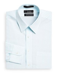 Saks Fifth Avenue Black Classic Fit Striped Dress Shirt Blue