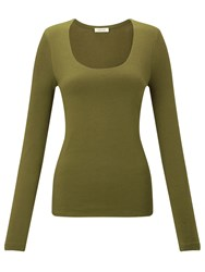 Jigsaw Double Front Scoop Tee Olive
