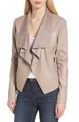 Bagatelle 'S Drape Faux Leather And Faux Suede Jacket Granite