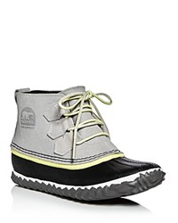 Sorel Out N About Waterproof Embossed Leather Lace Up Duck Booties Dove