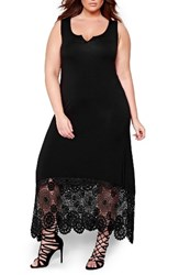 Michel Studio Plus Size Women's Crochet Detail Maxi Dress Black