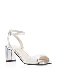 Caparros Belize Two Tone Ankle Strap Sandals White Silver