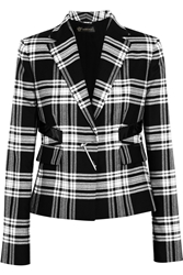 Versace Patent Leather Trimmed Plaid Wool Twill Blazer Black