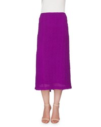 Victoria Beckham Textured Seersucker Pencil Skirt Plum