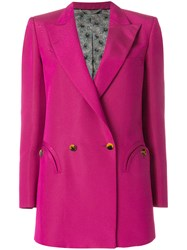 Blaze Milano Fitted Curved Pocket Blazer Pink And Purple
