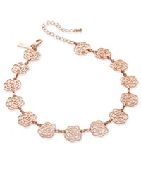 Inc International Concepts Rose Gold Tone Openwork Flower Choker Necklace Only At Macy's