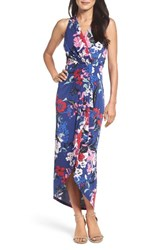 Adrianna Papell Women's Halter High Low Faux Wrap Maxi Dress