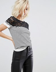 Y.A.S Stella Seamless Superstretch Striped Top With Lace Yoke Black White Grey