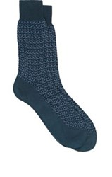 Brioni Men's Geometric Pattern Cotton Blend Mid Calf Socks Blue
