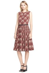Marc Jacobs Plaid Print Pleated Wool Dress Red