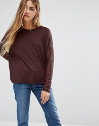 Jdy Knit Jumper With Lace Sleeves Fudge Brown