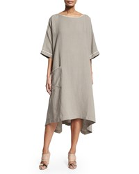 Eskandar Half Sleeve Two Tone Linen Shirtdress Dolphin White Women's