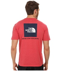 The North Face S S Red Box Tee Tnf Red Heather Cosmic Blue Men's T Shirt