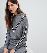 River Island Hoodie With Taping In Grey Black