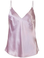Fleur Du Mal Luxe V Neck Cami Top Pink And Purple