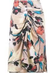 Marni Lucid Print Gathered Skirt Nude Neutrals