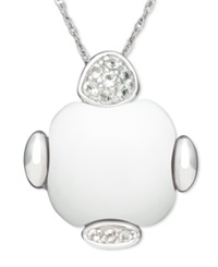 Macy's Sterling Silver Necklace White Agate 15Mm And White Topaz 1 8 Ct. T.W. Pendant