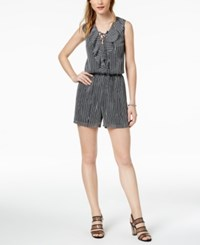Bar Iii Striped Lace Up Romper Collage