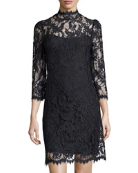 Notte By Marchesa Three Quarter Sleeve Lace Cocktail Dress Black