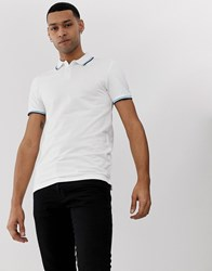 Tom Tailor Polo With Tipped Collar In White