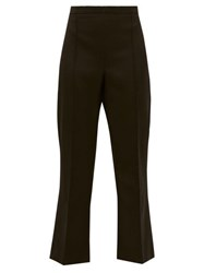 Andrew Gn High Rise Cropped Virgin Wool Flared Trousers Black