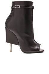 Givenchy Open Toe Runway Leather Booties In Black
