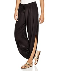 Laundry By Shelli Segal Solid Draped Swim Cover Up Pants Black