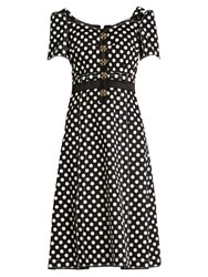 Dolce And Gabbana Polka Dot Fitted Cady Dress Black White