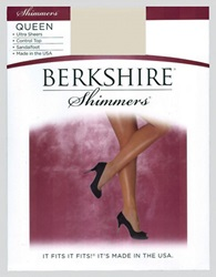 Berkshire Plus Queen Control Top Shimmer Pantyhose 15 Denier Candlelight