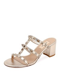 Valentino Garavani Rockstud Caged Metallic Leather Slide Sandals Skin