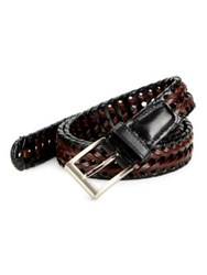 Black Brown Woven Leather Contrast Belt Brown