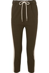 Bassike Striped Organic Cotton Jersey Track Pants Army Green