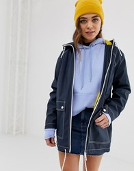 Pull And Bear Pullandbear Contrast Stitch Rain Mac With Pockets In Navy Blue