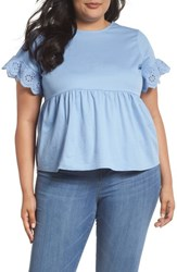 Lost Ink Plus Size Daisy Trim Swing Top Blue