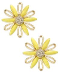 Kate Spade New York 14K Gold Plated Yellow Stone Daisy Stud Earrings