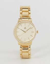 Asos Premium Crystal Detail Metal Bracelet Watch Gold