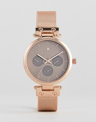 Asos Premium Mink Shoulder Detail Mesh Watch Rose Gold Copper