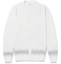 Brioni Lightweight Wool And Silk Blend Cardigan White