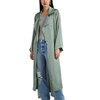 Juan Carlos Obando Washed Satin High Low Trench Coat Mint